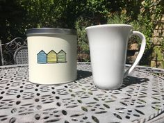 Items similar to Hand painted Beach Hut Tin on Etsy Potato Print, Coffee Pods, Hand Painted, Mugs, Beach, Prints, Painting, The Beach, Tumbler
