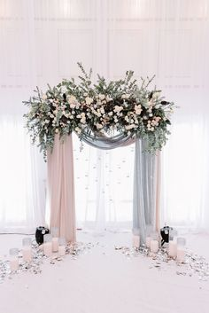 beautiful blush and grey drapery wedding arch ideas #WeddingFlowers #WeddingCeremony