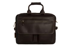 15'' Genuine Cow Leather Briefcase / Laptop Bag / Men's Handbag