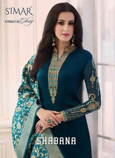 Buy Simar Shabana by Glossy Heavy Designer Satin Georgette with Heavy embroideyr Work and Banarasi Silk Dupatta Long Straight Dress Material Collection at Wholesale Rate. Salwar Designs, Kurti Designs Party Wear, Blouse Designs, Heavy Dresses, Trendy Dresses, Summer Dresses, Pakistani Dresses, Indian Dresses, Bollywood Dress