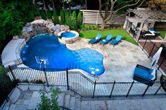 A Backyard Pool Oasis - traditional - pool - toronto - by Gib-San Pools Ltd. --- I like this pool area. Small Backyard Pools, Backyard Pool Landscaping, Backyard Pool Designs, Swimming Pools Backyard, Swimming Pool Designs, Landscaping Design, Backyard Paradise, Backyard Retreat, Pool Spa