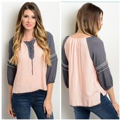 "PINK AND GREY TUNIC TOP This woven top features a rounded neckline, contrast colored sleeves and lace up detail on the neckline. 100% rayon. Small measures L22"" B36"" W38"" M and L will measure slightly larger.   M (2)  Please comment size needed below.  PLEASE DO NOT BUY THIS LISTING. Allow me to make your separate listing for you or help you make a bundle ❤️.  NO PAYPAL NO TRADES. Due to Poshmark's commission, price is FIRM unless bundled. All sales final. Tops Tunics"