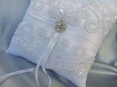 Items similar to White Wedding Pillow Elegant White Beaded Alencon Bridal Lace Rhinestone Wedding Ring Bearer Pillow White Lace Ring Pillow on Etsy Rhinestone Wedding, Bridal Lace, Ring Bearer Pillows, Ring Pillows, Unique Wedding Favors, Wedding Ring, Wedding Pillows, Pink Ring, White Beads