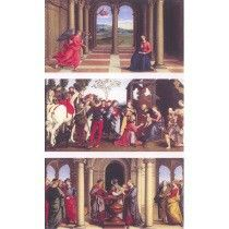 """Giovan Battista salvi detto """"Il Sassoferrato"""" Trittico, Annunciazione, Adorazione dei Magi, Circoncisione  Olio su tavola"""