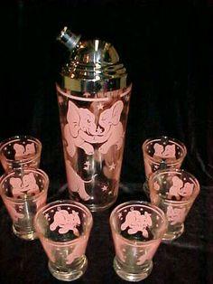 Vintage Pink Elephant Cocktail Set