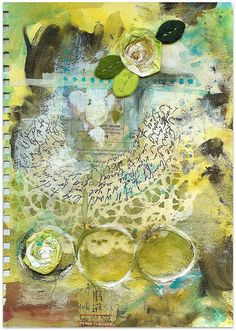 STILL TO DO Art Journal Page by Roben Marie    Various supplies used: gesso, stencils, Permaball Pilot Pen, acrylic paint, inky fabric, felt leaves, masking tape, thread, scrap paper, Golden Acrylic paint, UHU Glue Stick, oil pastels and Adirondack Colorwash Spray Inks.