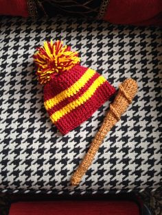 Harry Potter crocheted newborn hat and wand.