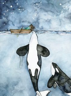 Watercolor Orca and Girl Painting Print by TheColorfulCatStudio