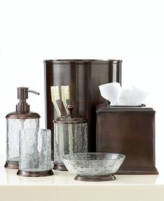 Bath accessories bath and accessories on pinterest for Black crackle bathroom accessories
