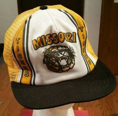0219d2f2dfc Missouri Tigers Snapback Cap Hat trucker football vintage fishing mesh old  rare