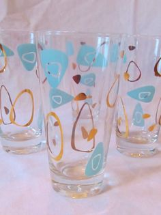 Vintage Amoeba Boomerang Drinking Glasses  by GifttotheWorld, $22.50
