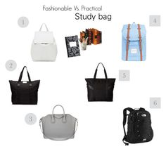"""""""Fashionable Vs. Practical Study Bags"""" by hugmyheart on Polyvore featuring Herschel Supply Co., Mansur Gavriel, The North Face, Givenchy, DAY Birger et Mikkelsen, NIKE, Dot & Bo and ESSEY"""