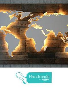 """Beleuchtete Holz Weltkarte """"Powell"""" - 128x78cm - Handgefertigte, einzigartige Weltkarte mit Beleuchtung und 3D-Effekt im Vintage-Look! von der merk!echt https://www.amazon.de/dp/B01M6DBF18/ref=hnd_sw_r_pi_dp_S.uVyb3VFJGAV #handmadeatamazon"""