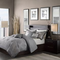 Buy Madison Park Quinn 7-Piece King Comforter Set in Grey from Bed Bath & Beyond