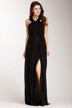 slit sleeveless v neck dress