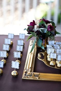 Gourmet chocolate wedding favors make a sweet addition to the escort cards. See more candy wedding favors and party ideas at http://www.one-stop-party-ideas.com