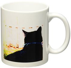 3dRose Black Cat from Behind Animal Looking Out Window Ceramic Mug, 11-Ounce >> Stop everything and read more details here! : Cat mug