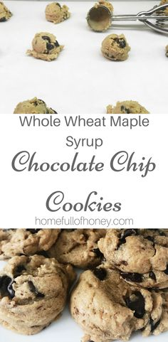 Whole Wheat Chocolate Chip Cookies with Maple Syrup - Made without Refined Sugar! Baking Recipes, Real Food Recipes, Cookie Recipes, Real Foods, Healthy Recipes, Free Recipes, Maple Syrup Cookies, Sugar Cookies, Chicolate Chip Cookies