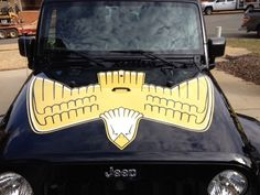 """Jeep Wrangler Retro Golden Eagle Hood Decal Kit for Jeep Wangler JK (all years) Kit Includes: - Golden Eagle full size Hood Decal in Gold, Black and White (51""""x 36"""") - Left and Right Side Hood """"Golden"""