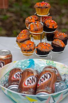 Celebrating My A&W Memories With The Perfect Summer Cupcake Party - The Happy Arkansan Root Beer Cupcakes, A&w Restaurants, Cupcake Supplies, Chocolate Ganache Frosting, Chili Cheese Fries, Summer Cupcakes, Orange Candy, Easy Recipes For Beginners, How To Make Cupcakes