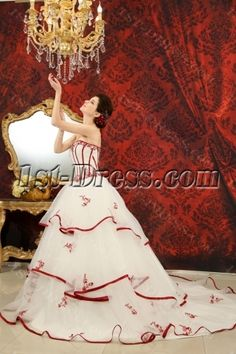 Ball-Gown Sweetheart Chapel Train Organza Satin Wedding Dress With Embroidery Ruffle Beadwork Sequins H-145:1st-dress.com