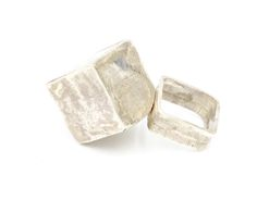 Sterling silver Hollow Form square band ring.