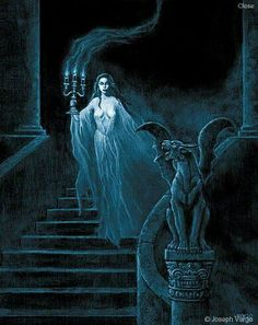 Enter the realm of gothic fantasy artist Joseph Vargo, a chilling, mist-shrouded world of forlorn ghosts, brooding vampires, living gargoyles and other creatures of the night. Fantasy Kunst, Dark Fantasy Art, Fantasy Artwork, Dark Art, Gothic Artwork, Gothic Horror, Horror Art, Vampires And Werewolves, Vampire Art