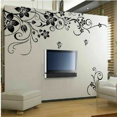 Butterfly Wall Decals - Large Black Vine Flower Rattan Butterfly Removable Vinyl Wall Decal Stickers Art Home Decor Mural DIY! Simple Wall Paintings, Wall Painting Decor, Art Decor, Room Decor, Contemporary Wall Stickers, Removable Vinyl Wall Decals, Rose Wall, Flower Wall Stickers, Wall Design