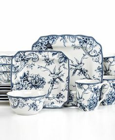 ♥Beautiful toile  featuring graceful birds and florals -222 Fifth Adelaide Blue Square 16-Piece Set - $89.99 on overstock  Single plates $8.99 Amazon.