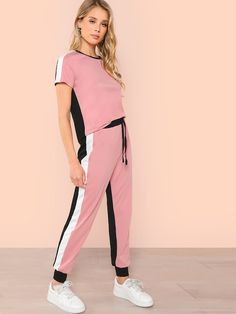 Shop Cut and Sew Top & Tape Side Pants Set online. SheIn offers Cut and Sew Top & Tape Side Pants Set & more to fit your fashionable needs. Sewing Shorts, Trendy Outfits, Fashion Outfits, Make Your Own Clothes, Only Play, Looks Plus Size, Two Piece Outfit, Clothing Co, Fashion News