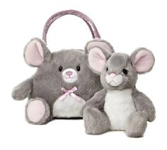 Aurora Plush Gray Mouse Pet Carrier Purse Stuffed Animal Toy 09808 #Aurora