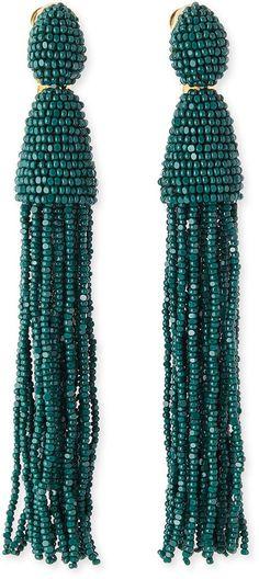 Oscar de la Renta Long Beaded Tassel Earrings, Forest Green on shopstyle.com