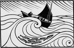 Gravure de René Quillivic. Barque du Cap-Sizun.