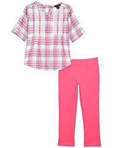 Nautica Girls' Woven Top with Lace and Knit Jegging: Your little one will feel casual and cool in this Nautica two piece set that features a woven top with lace details and round hem and pull on knit jeggings. Little Girl Leggings, Girls Leggings, Cute Baby Girl Outfits, Lace Knitting, Lace Tops, Outfit Sets, Jeggings, Latest Fashion Trends, Girl Fashion