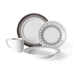 notNeutral Ribbon 16 Piece Dinnerware Set, Service for 4 for sale online Dinnerware Sets Walmart, Dinnerware Sets For 12, Black Dinnerware, Square Dinnerware Set, Clean Dishwasher, Dinner Sets, Black Ribbon, Dinner Plates, Dinner Ware