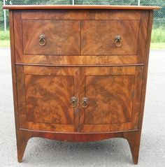 Georgian Small Mahogany Bowfront Cupboard Chest