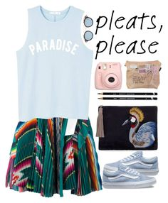 """Pleated Skirt"" by unicornonthecobb ❤ liked on Polyvore featuring Sacai, Vans, Thom Browne, Sam Edelman, MANGO, Fujifilm and unicornonthecobb"
