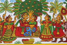 Colorful Cloth Painting of King and Queen Saree Painting, Kalamkari Painting, Kerala Mural Painting, Buddha Painting, Fabric Painting, Indian Artwork, Indian Folk Art, Indian Art Paintings, Phad Painting