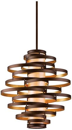 Vertigo Bronze and Gold Leaf 30-Inch-W Foyer Pendant Light - #EUJ6249 - Euro Style Lighting