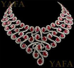 18k Gold Diamond and Ruby Necklace - YAFA Signed Jewels