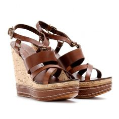 Miu Miu Cork Detailed Leather Wedges ($419) ❤ liked on Polyvore