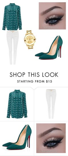 """""""Untitled #55"""" by bbygurlbad on Polyvore featuring Equipment, Michael Kors, Christian Louboutin and Movado"""