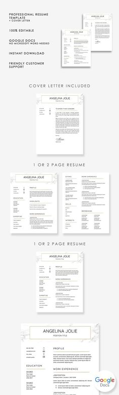 Resume/CV Template Gabrielle Cooke Clean Resume Pinterest Cv - google docs resume templates
