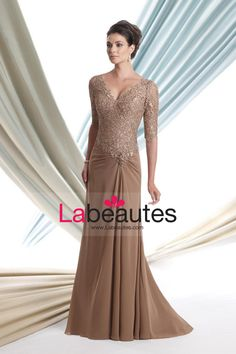 Mother Of The Bride Dresses V Neck Mid Length Sleeve Floor Length With Lace