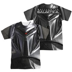 BSG/CYLON FACE (FRONT/BACK PRINT)-S/S ADULT POLY CREW-SUBLIMATE WHITE