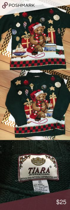 Ugly Christmas sweater Amazing 1998 Tiara international ugly Christmas Sweater bears presents and gifts Tiara Sweaters Crew & Scoop Necks