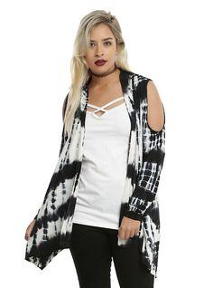 6c94ecbe2a9 Black   White Tie Dye Girls Cold Shoulder Flyaway Cardigan Plus Size
