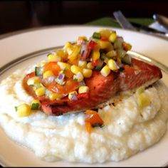 Honey Lime Glazed Salmon with Cucumber Corn Relish over Cauliflower Mash  Salmon (4got the OJ): http://www.food.com/recipe/salmon-with-chili-honey-glaze-94335  Relish is simply fresh cucumber, sweet peppers, poblano pepper, red onion, grape tomatoes and lime juice mixed with hot cooked corn