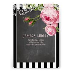 """PixDezines chalkboard and vintage roses illustrated by Pierre Redoute with rococo...   Easy customizable.  DIY fonts and fonts color as well.  <a href=""""http://pixdezines.com/wedding_color_wheel.html""""  TARGET=""""_blank"""">{♥}Click for Dynamic Color Wheel{♥}</a><br><a href=""""http://www.zazzle.com/pixdezines+chalkboard+invitations?rf=238522335502586196"""">{♥}Chalkboard Invitations Collections by PixDezines{♥}</a><br><a href=""""http://www.zazzle.com/custom_stationery*"""">{♥}Invitations Storefront by ..."""