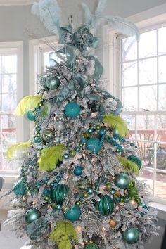 décoration de Noël 2014: sapin en argent et vert et turquoise